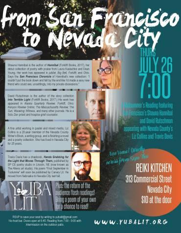 "Yuba Lit Presents ""From San Francisco to Nevada City"" Thursday July 26th"